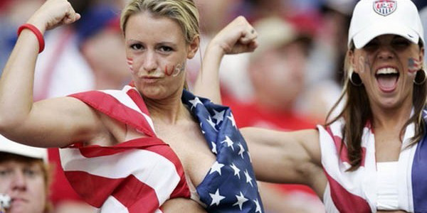 USA Fans showing some love at a Soccer Game