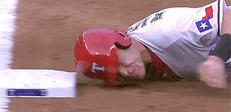 Ian Kinsler demonstrates how to not slide into 3rd base