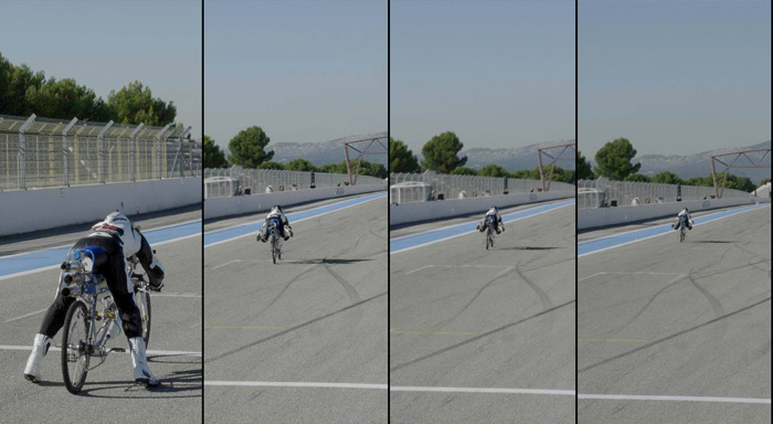 taking off on a jet propelled bicycle