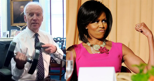 Joe Biden and michelle obama proting fitness and weightlifting