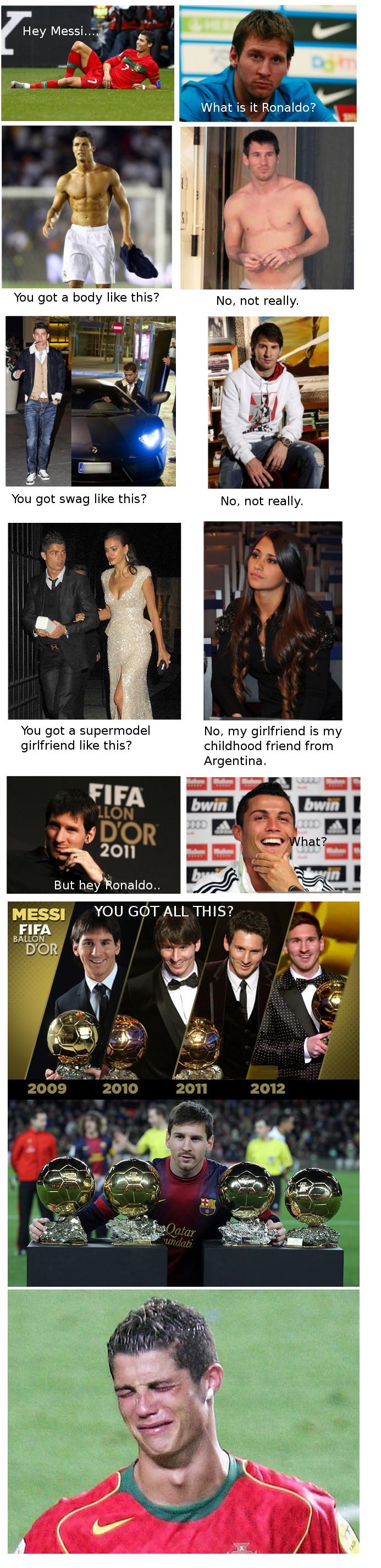 the endless debate between Messi and Ronaldo