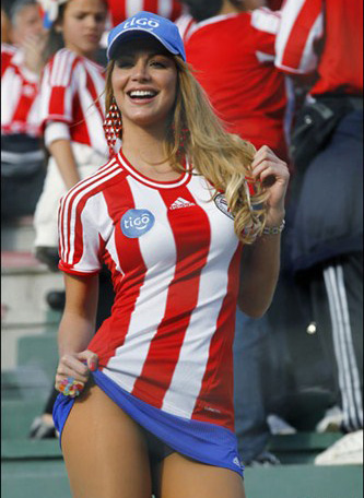 Team colors is what its all about with Paraguay fans