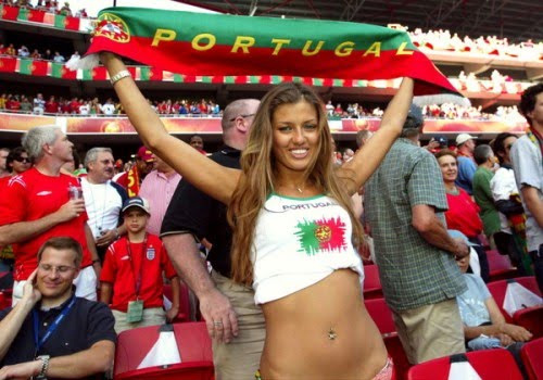 Go portugal, as a Woman holds a banner above her head