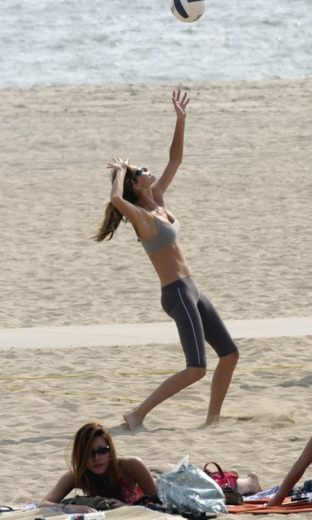 Gisele Bundcen playing volleyball